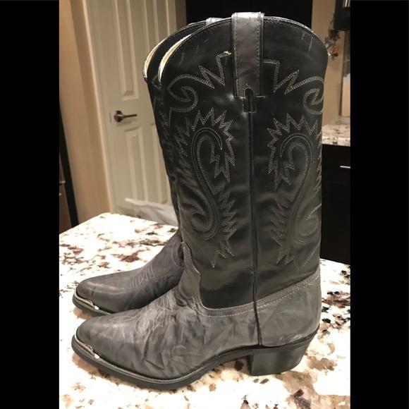 a5a120b340f Sheplers 9.5 D Leather cowboy boots black & Gray